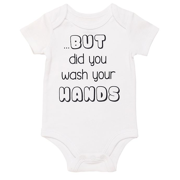 Alternate image 1 for Baby Starters® BWA® But Your Hands Short Sleeve Bodysuit in Black/White