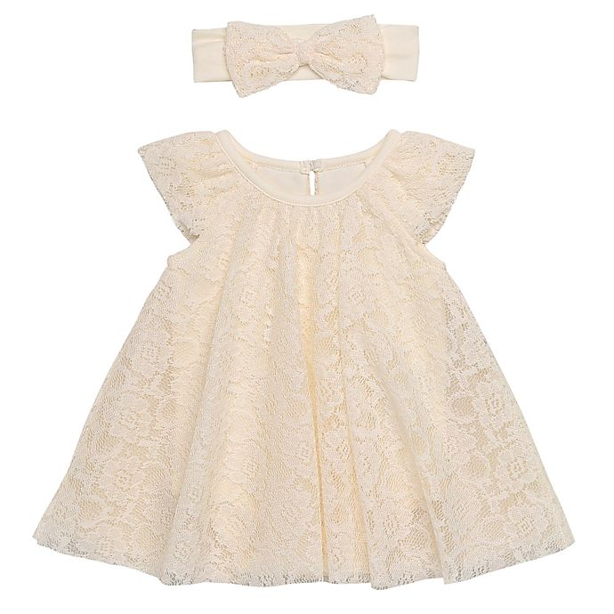 Alternate image 1 for Baby Starters® 2-Piece Trapeze Dress and Headband Set