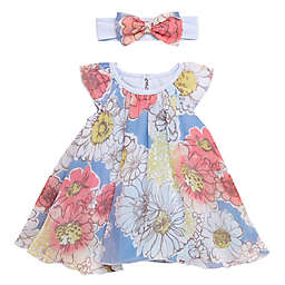 Baby Starters® Size 3M 2-Piece Chiffon Trapeze Dress and Headband Set in Blue Floral