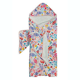 Loulou Lollipop 2-Piece Light Field Flowers Hooded Towel and Washcloth Set