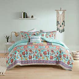 Intelligent Design Ophelia Boho Printed 5-Piece Full/Queen Comforter Set in Aqua