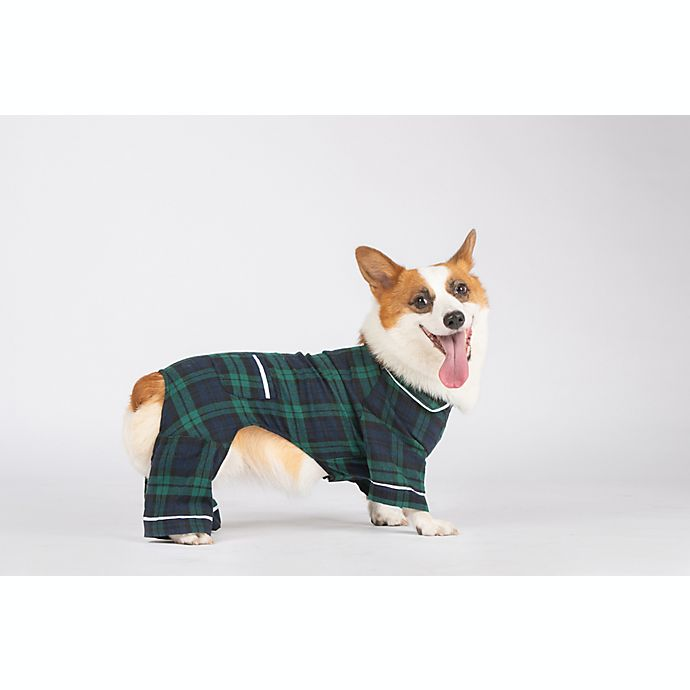 Alternate image 1 for Bee & Willow™ Home Flannel Medium Dog Pajamas in Blue/Green Plaid