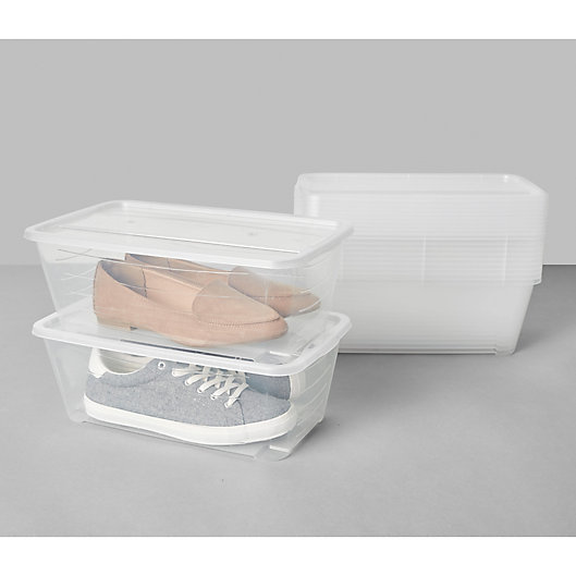 Alternate image 1 for Simply Essential™ Stackable Shoe Boxes (Set of 12)
