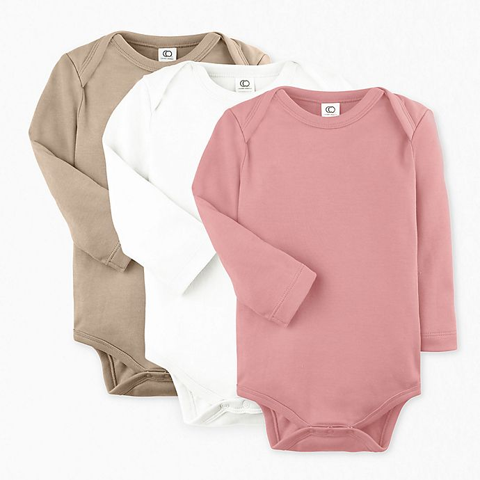 Alternate image 1 for Colored Organics Size 12-18M 3-Pack Organic Cotton Long Sleeve Bodysuits in Rose