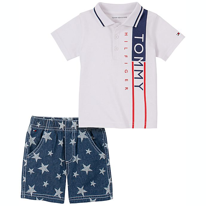 Alternate image 1 for Tommy Hilfiger® Size 18M 2-Piece Polo Shirt and Star Short Set in White/Blue