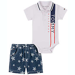 Tommy Hilfiger® Size 3-6M 2-Piece Polo Shirt and Plaid Short Set in Red