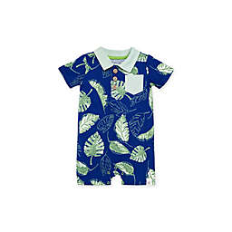 Burt's Bees Baby® Jungle Canopy Short Sleeve Polo Romper in Navy
