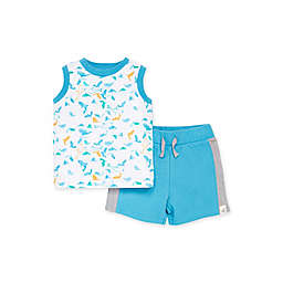 Burt's Bees Baby 2-Piece Shark Attack Tank and French Terry Short Set in White