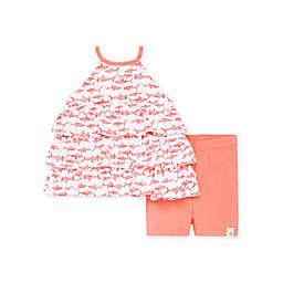 Burt's Bees Baby® 2-Piece Sharks Ruffled Tunic & Bike Short Set in Pink