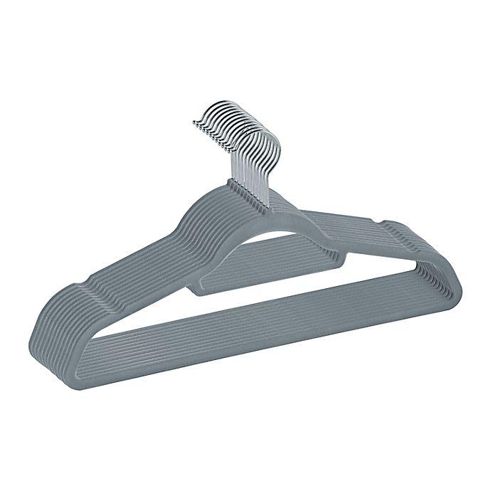 Alternate image 1 for Squared Away™ Velvet Slim Suit Hangers with Chrome Hook (Set of 12)