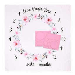 "The Peanutshell™ Farmhouse ""Love Grows Here"" Milestone Blanket in Pink"