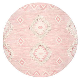 nuLOOM Savannah Moroccan Fringe 6' Round Handcrafted Area Rug in Pink