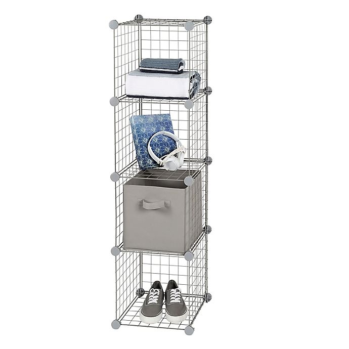 Alternate image 1 for Simply Essential™ 12-Inch Wire Cube Grid in Grey (Set of 4)