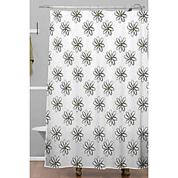 Deny Designs 71-Inch x 74-Inch Allyson Johnson 70s Daisies Shower Curtain in White