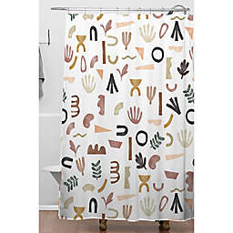 Deny Designs 71-Inch x 74-Inch Desert Shapes Pattern Shower Curtain in White