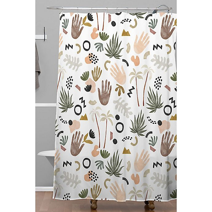 Alternate image 1 for Deny Designs 71-Inch x 74-Inch Modern Tropical Shapes Shower Curtain in White