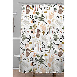 Deny Designs 71-Inch x 74-Inch Modern Tropical Shapes Shower Curtain in White