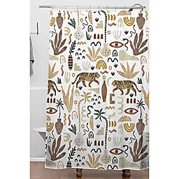 Deny Designs Mara Barragan Camarasa Wilde Desert Shapes II Shower Curtain in White