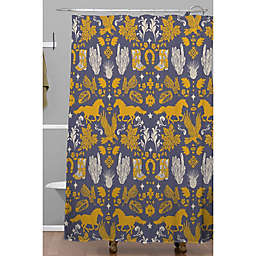 Deny Designs 71-Inch x 74-Inch Western Ornaments Shower Curtain in Blue/Yellow