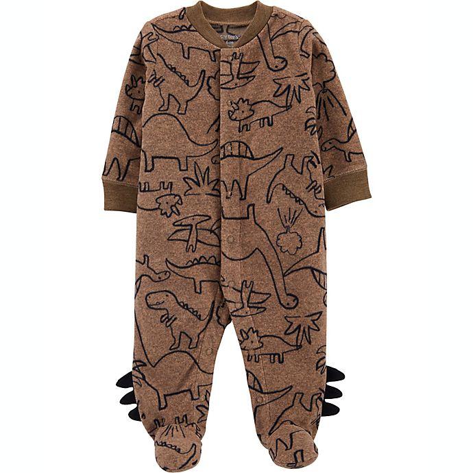 Alternate image 1 for carter's® Newborn Dino Fleece Snap-Up Sleep 'N Play in Brown