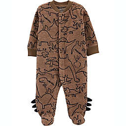 carter's® Newborn Dino Fleece Snap-Up Sleep 'N Play in Brown