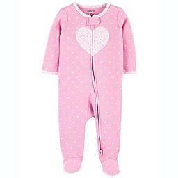 carter's® Newborn Heart 2-Way Zip Sleep & Play in Pink