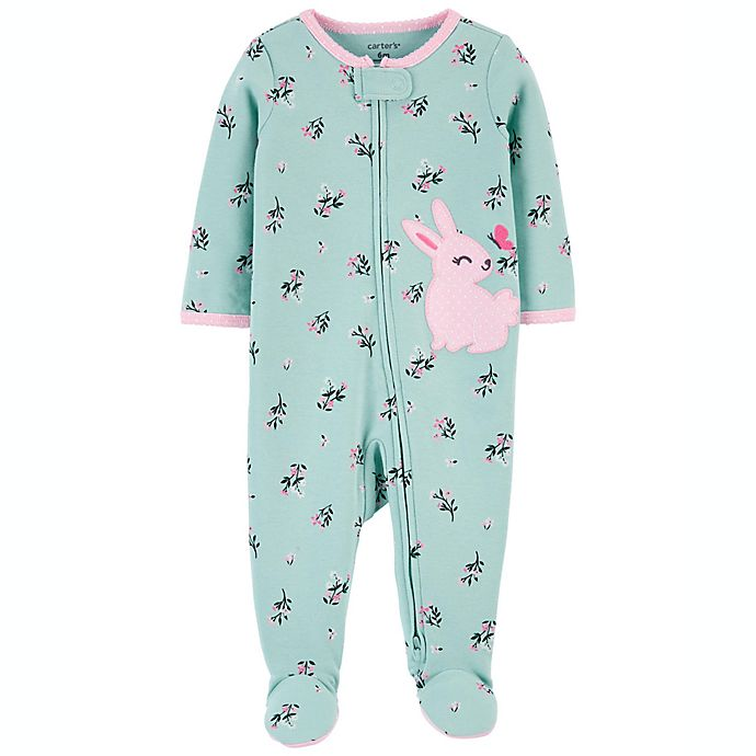 Alternate image 1 for carter's® Newborn Bunny 2-Way Zip Sleep & Play in Teal