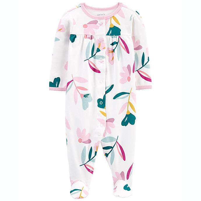 Alternate image 1 for carter's® Floral Long Sleeve Sleep & Play Footie in White