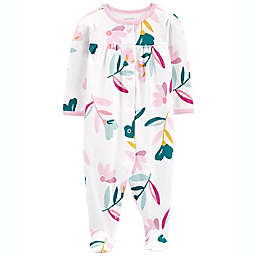 carter's® Floral Long Sleeve Sleep & Play Footie in White
