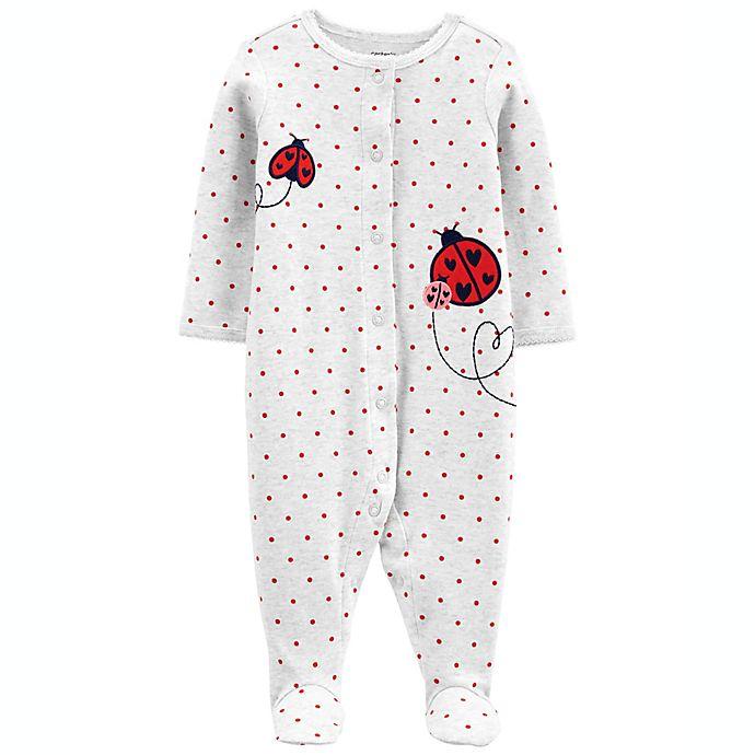 Alternate image 1 for carter's® Preemie Ladybug Long Sleeve Sleep & Play Footie in Ivory