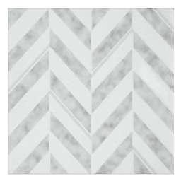 Achim Chevron 20-Pack 12-Inch Retro Peel & Stick Vinyl Floor Tiles in Silver