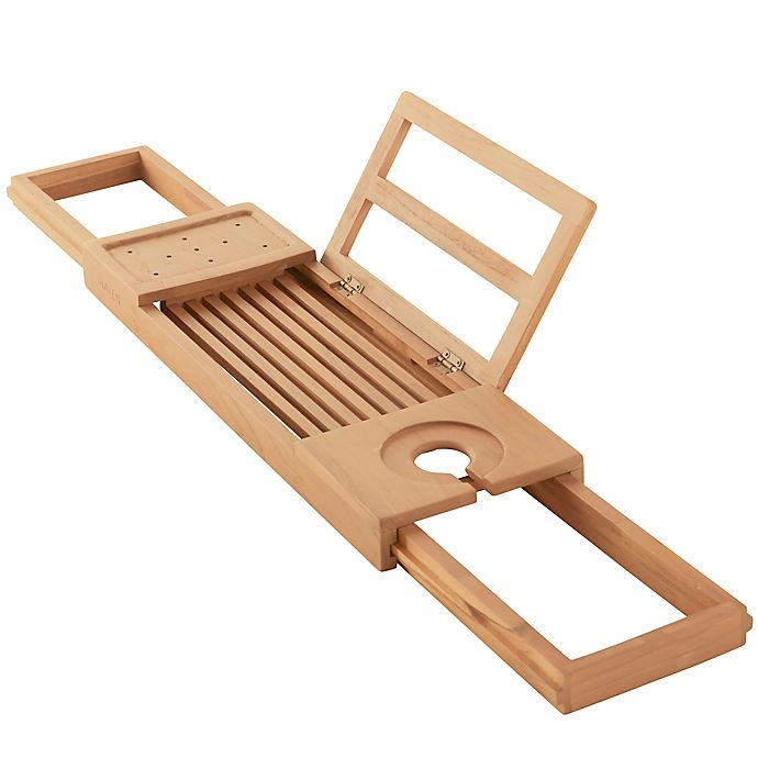 Alternate image 1 for Haven™ Teak Expandable Tub Tray in Natural