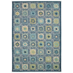 Liora Manne Portofino Boho Tiles Indoor/Outdoor Rug in Aqua