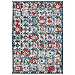 "Liora Manne Portofino Boho Tiles 3'3"" x 4'11"" Indoor/Outdoor Rug in Blue"