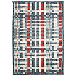 Liora Manné Plaid 3'3 x 4'11 Indoor/Outdoor Accent Rug in Nautical Blue