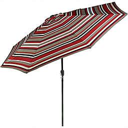 Sunnydaze Decor 8.67-Foot Awning Stripe Outdoor Patio Umbrella in Dark Red