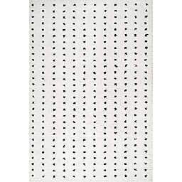 JONATHAN Y Pele Modern Geo Dot Shag Area Rug in White/Black