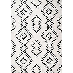 JONATHAN Y Deia Moroccan Shag Area Rug in White/Black
