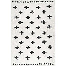 JONATHAN Y Cristo Berber Geo Shag Area Rug in White/Black