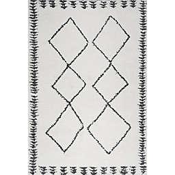 JONATHAN Y Calvia Moroccan Shag Area Rug in White/Black