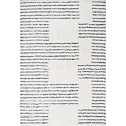 JONATHAN Y Petra Stripe Geo Shag Area Rug in White/Black