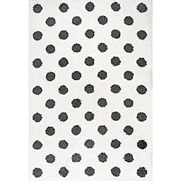 JONATHAN Y Pere Modern Dot Shag Area Rug in White/Black