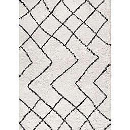 JONATHAN Y Inca Moroccan Style Shag Rug in Beige/Grey
