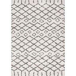 JONATHAN Y Algaida Moroccan Style Diamond Shag Rug in Beige/Grey