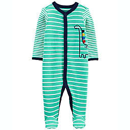 carter's® Striped 2-Way Zip Cotton Sleep & Play Footed Pajama in Green