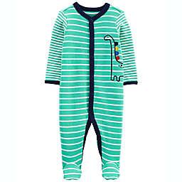 carter's® Newborn Striped 2-Way Zip Cotton Sleep & Play Footed Pajama in Green