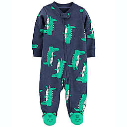 carter's® Alligator 2-Way Zip Cotton Sleep & Play Footed Pajama in Navy
