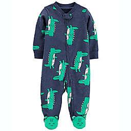 carter's® Alligator 2-Way Zip Cotton Sleep & Play Footed Pajama in Navy