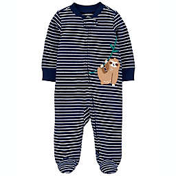 carter's® Sloth 2-Way Zip Sleep & Play Footie in Navy