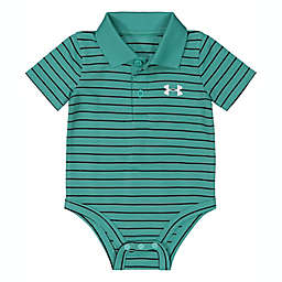 Under Armour® Striped Polo Short Sleeve Bodysuit in Mint